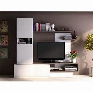 Meuble Tv Mur : mur tv rodrigo avec rangements bois mdf blan achat ~ Teatrodelosmanantiales.com Idées de Décoration
