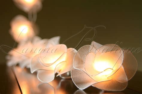 20 white flower led string lights