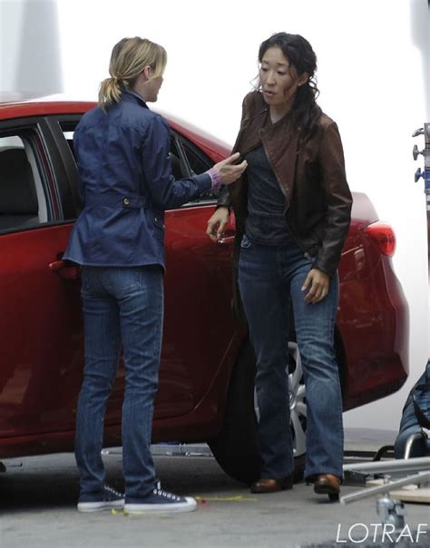 sandra oh on grey s anatomy sandra oh and ellen pompeo film a scene on the set of grey