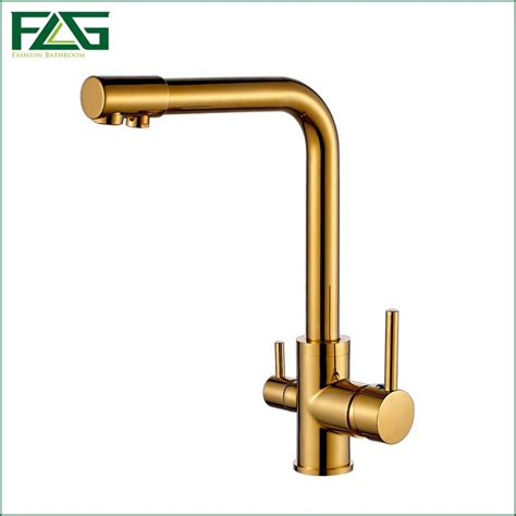 kitchen sink water filter faucet flg 100 copper gold finished swivel water faucet 8563