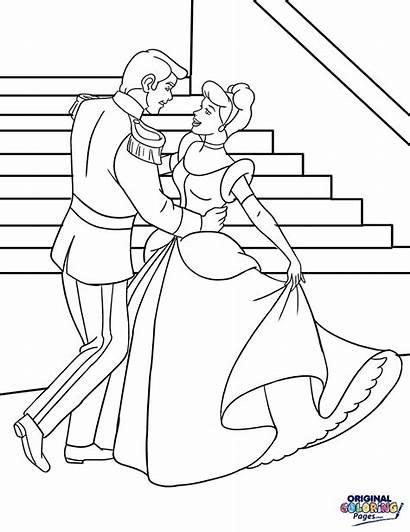 Cinderella Coloring Prince Princess Charming Pages Drawing