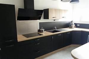 Cuisine Équipée Noir : cuisine noire et bois socoo 39 c aubagne ~ Melissatoandfro.com Idées de Décoration