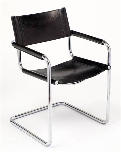 marcel breuer black leather and tubular chrome steel
