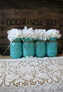 mason jars painted mason jars rustic wedding With turquoise wedding centerpiece ideas