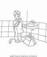 Coloring Plumber Colouring Sheet Tools Turtlediary Plumbers sketch template