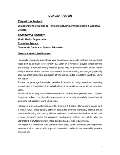Follow the guidelines described next to format each element of the professional title page. Concept paper wheel chair