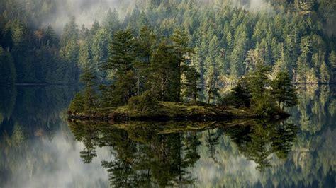 Foggy Evergreen Forest Wallpaper Full Hd Wallpaper Mirror Reflection Island Forest Fir Tree Amazing Desktop Backgrounds Hd 1080p