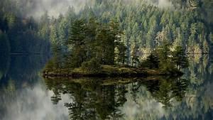 Full HD Wallpaper mirror reflection island forest fir