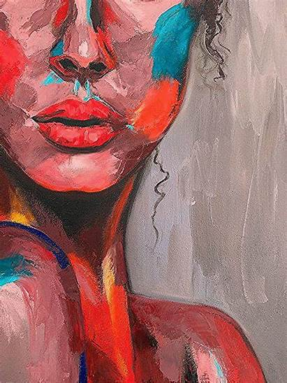 Painting Abstract Face Portrait Emotional Colorful Woman