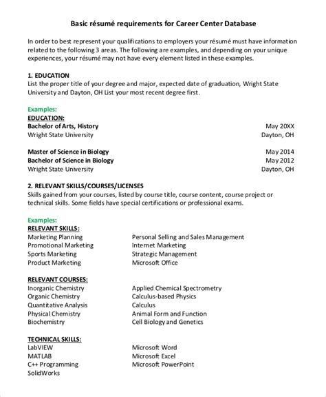 basic resume sample  examples   word