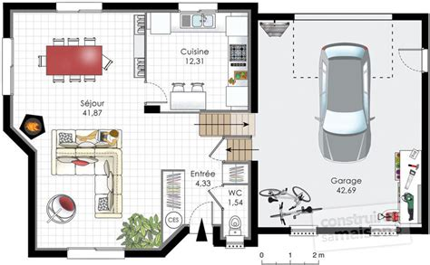 plans travail cuisine maison traditionnelle normande dé du plan de maison