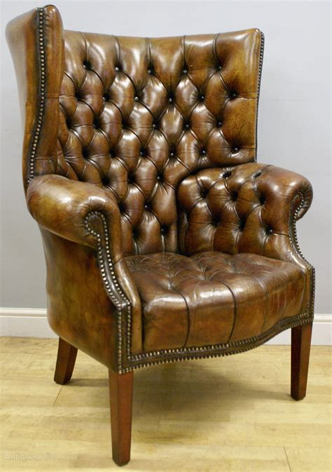 A Buttoned Leather Barrel Back Arm Chair  Antiques Atlas