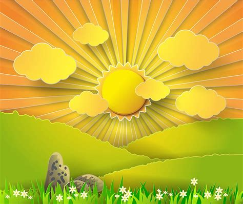 paper stickers effect  sunburst landscape vector