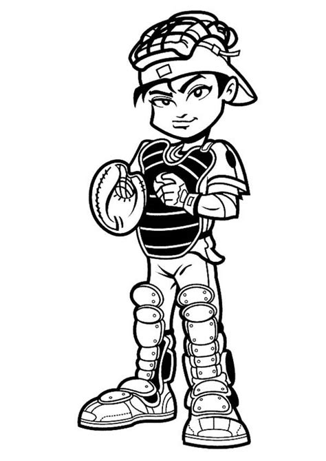 baseball player catcher coloring page  print