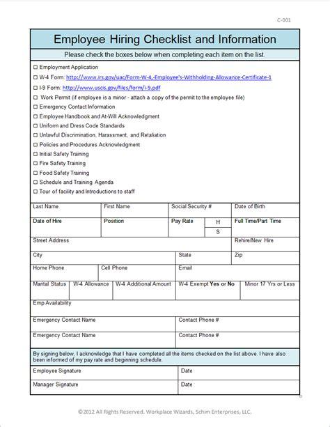 16079 employee information form new hire checklist self improvement
