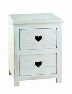 Meuble De Chevet : meuble de chevet pin blanchi 2 tiroirs coeur mobilier ~ Teatrodelosmanantiales.com Idées de Décoration