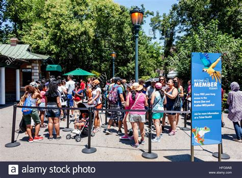 zoo york bronx entrance nyc ticket window alamy enclosure queue families become member line sign