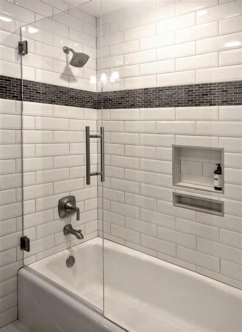 stunning tub surround  white beveled subway tile
