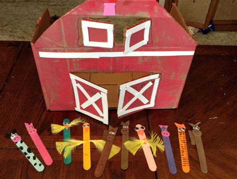 Cardboard Box Barn & Popsicle Stick Animals