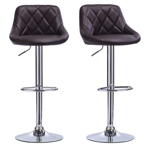 bar stools faux leather set of 2 kitchen breakfast bar