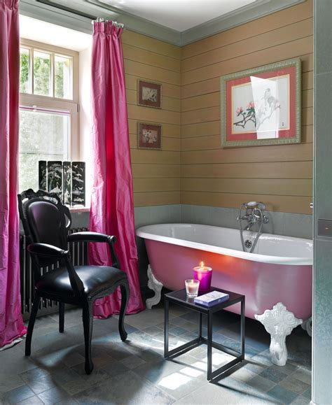 pink clawfoot tub interiors  color