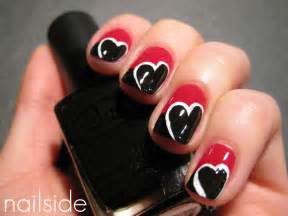 Red and black color heart shape nail art designs trendy