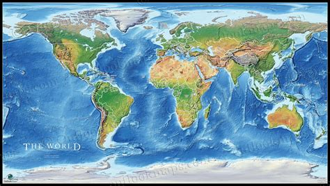 physical earth map poster