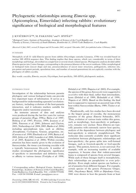 (PDF) Phylogenetic relationships among Eimeria spp
