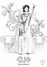 Greek Coloring Mythology Muses Goddesses Nine Roman Gods Goddess Illustrated sketch template