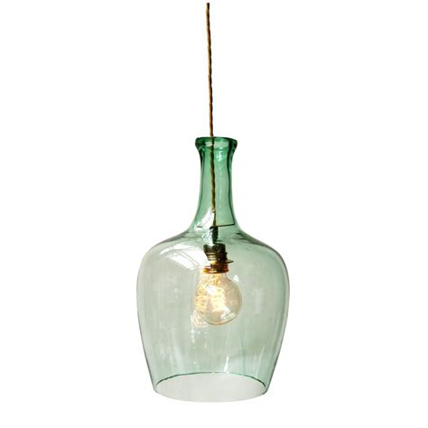 green glass ceiling pendant light in demijohn bottle shape