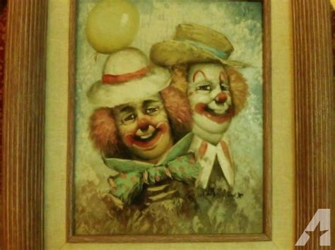 W. Moninet/american Artist/ Clown Oil Painting
