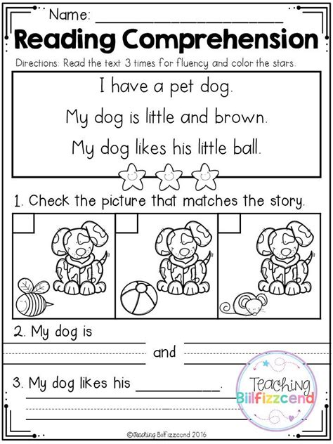 free kindergarten reading comprehension 2