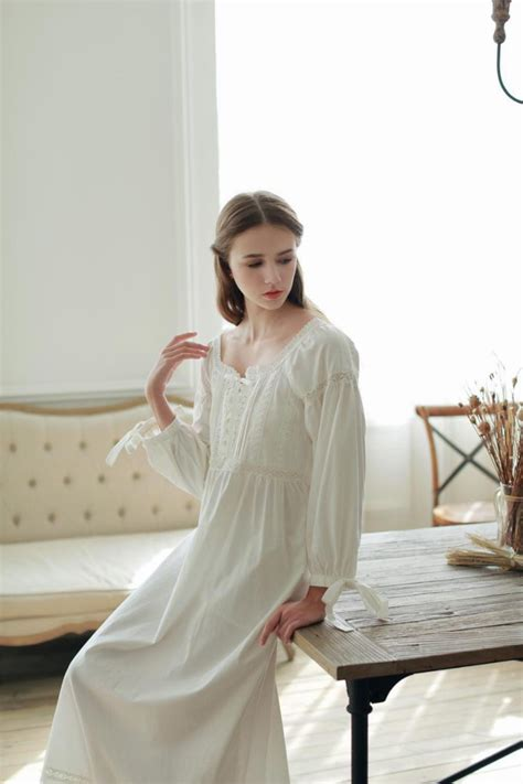hot vintage nightgowns  women full length pure cotton