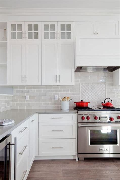 white  gray kitchen  red accents transitional