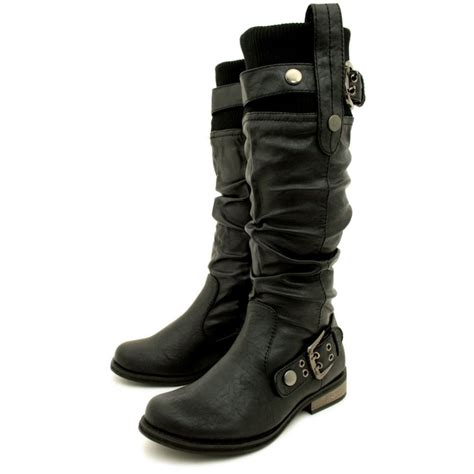womens biker boots womens black biker leather style flat wide calf boots