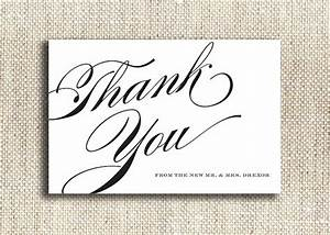 8 best images of thank you cards printable black and white With free printable wedding thank you cards templates