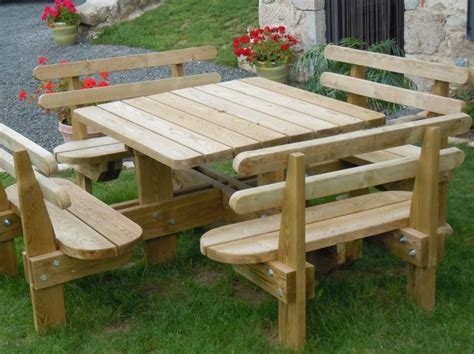 table de jardin avec banc bois mambobccom