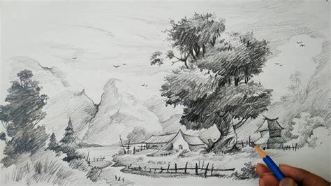 learn landscape  easy strokes  pencil pencil art