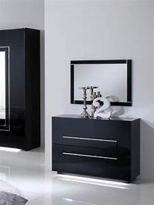 Commode Noir Laqué : commode 2 tiroirs city laque noir chambre coucher ~ Teatrodelosmanantiales.com Idées de Décoration