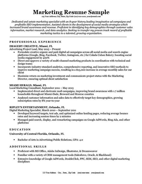 Marketing Resumes by Marketing Resume Sle Writing Tips Resume Companion