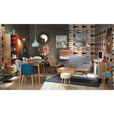 chaise et bleue chaise vintage en bouleau massif et tissu bleue mauricette maisons du monde deco