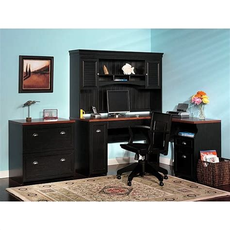 fairview l shaped wood home office set in black wc539pkg