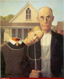 Gothic American Painting Farmer with Pitchfork and Wife