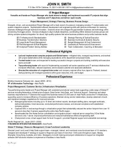 Technical Program Manager Resume by Sle It Project Manager Resume 9 Exles In Word Pdf