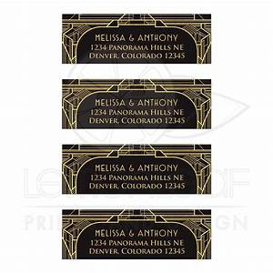 art deco wedding address labels black gold roaring 20s With art deco address labels