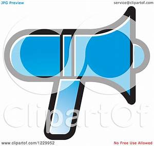 Clipart of a Blue Megaphone Icon - Royalty Free Vector ...