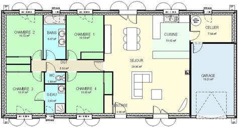 plan maison 4 chambres gratuit plan maison plain pied 4 chambres segu maison