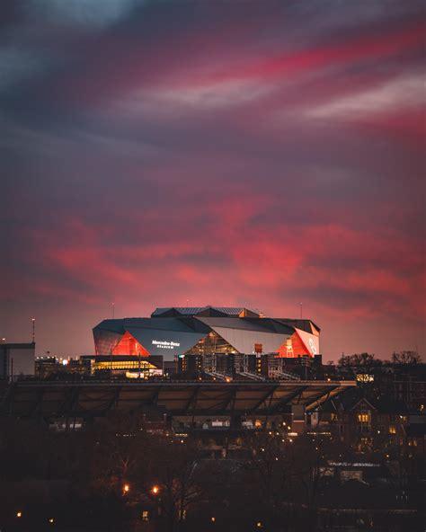 The Mercedes Benz Stadium Under Yesterdays Sunset