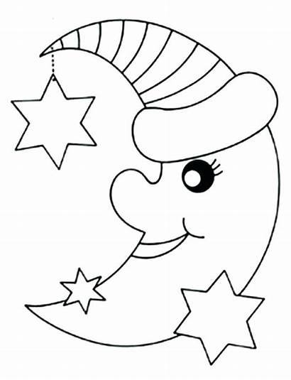 Moon Coloring Stars Pages Printable Star Sun