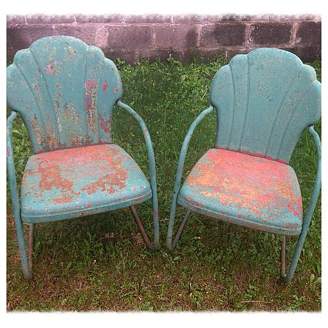 pair of vintage 50 s metal lawn chairs w great patina